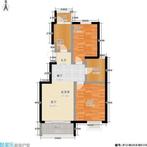阅城国际花园2室0厅1卫1厨93.00㎡户型图