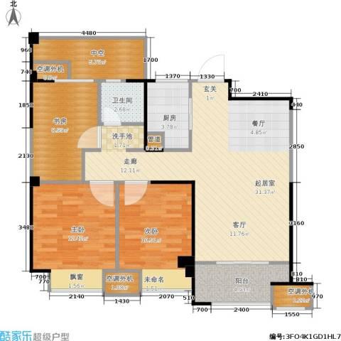 金科中心3室0厅1卫1厨92.00㎡户型图