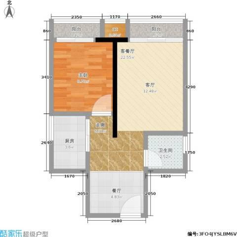 兆甲合阳新城1室1厅1卫1厨58.00㎡户型图