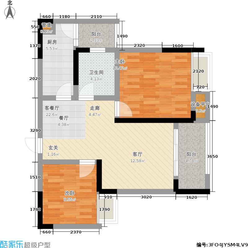融科金湖湾65.08㎡一期2、1-2号楼标准层A3户型