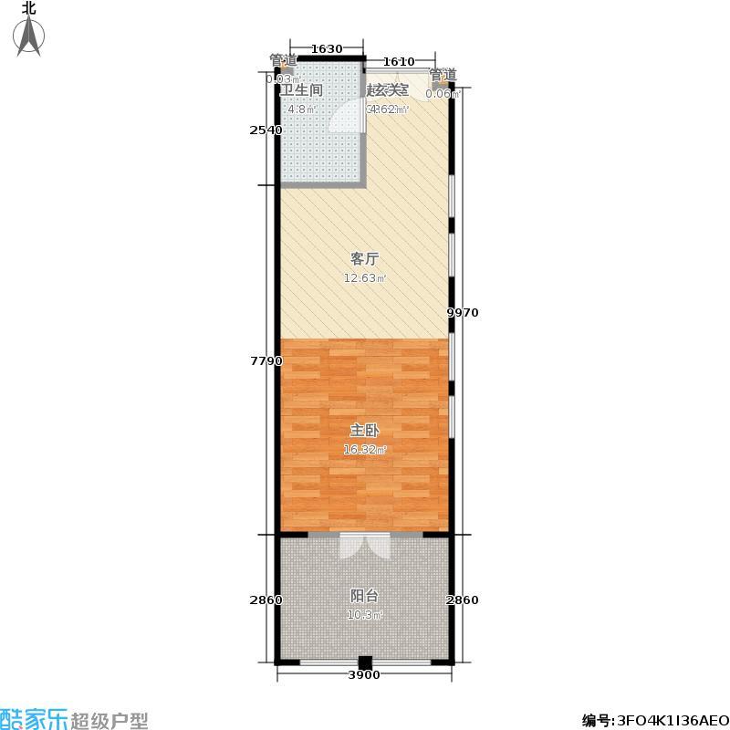 一杯澜66.48㎡二号楼公寓L5户型1室