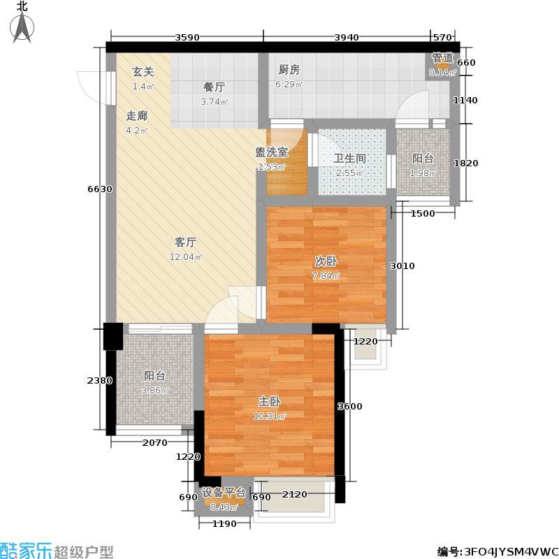 融科金湖湾61.65㎡一期2、1-2号楼标准层A1户型