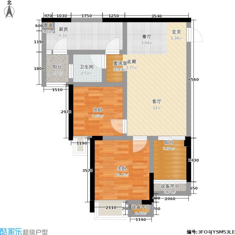 融科金湖湾61.33㎡一期9/1-1号楼标准层A1'户型