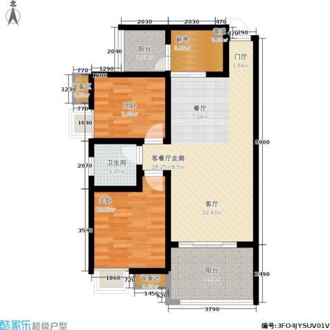 龙乡苑铜新花园2室1厅1卫1厨79.00㎡户型图
