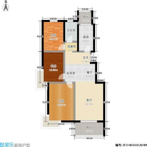 阅城国际花园3室0厅1卫1厨108.00㎡户型图