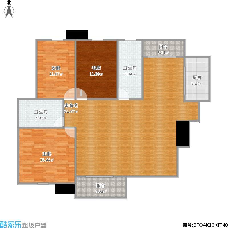 芷岸龙庭D1户型138平米三室两厅两卫