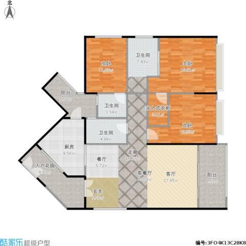 京基滨河时代大厦3室1厅3卫1厨180.00㎡户型图