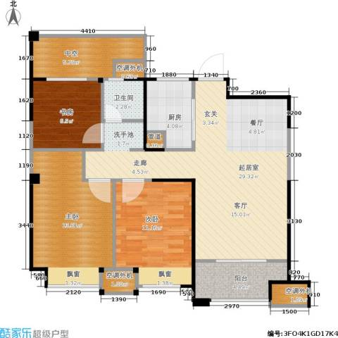 金科中心3室0厅1卫1厨89.00㎡户型图