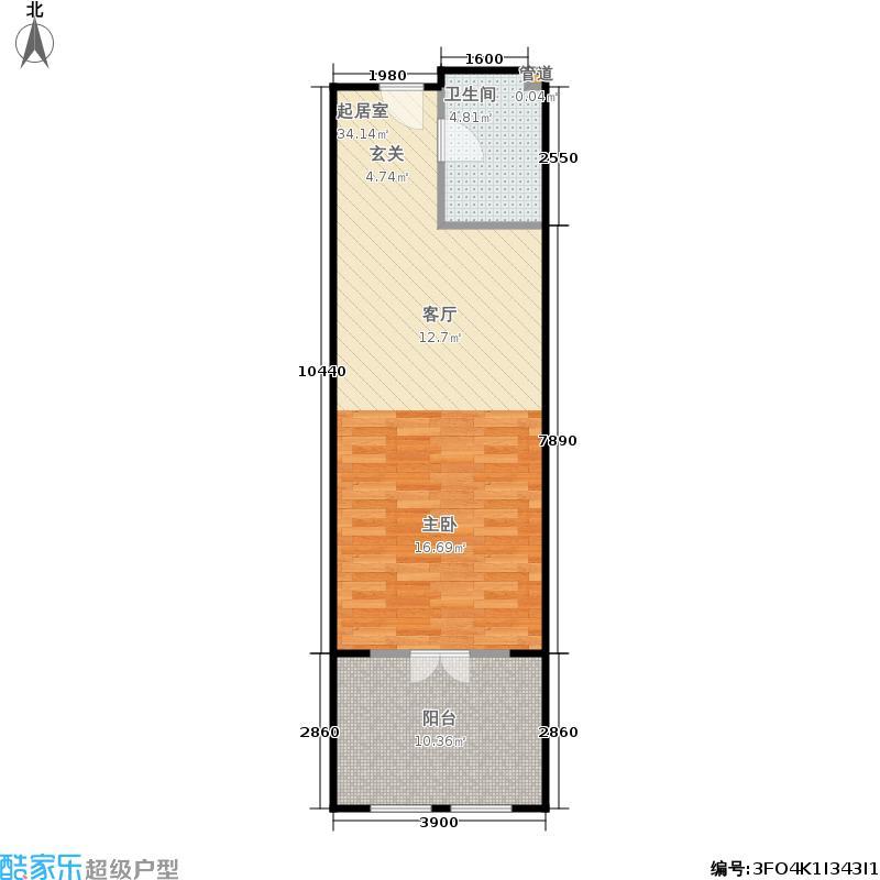 一杯澜66.00㎡二号楼公寓L4户型1室