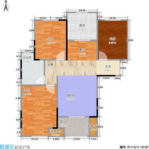 朗诗里程3室0厅1卫1厨89.00㎡户型图