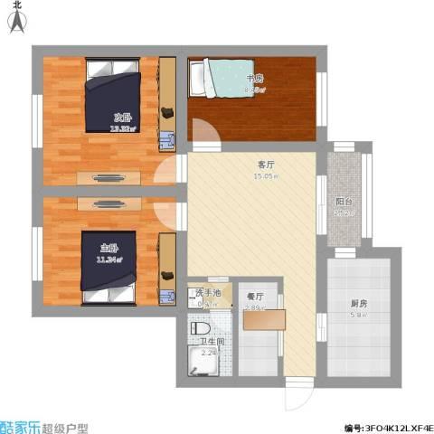 建欣苑三里3室2厅1卫1厨95.00㎡户型图
