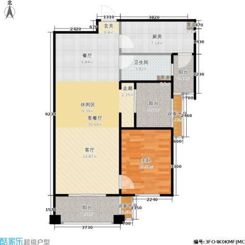 佛奥中金棕榈湾1室1厅1卫1厨78.00㎡户型图
