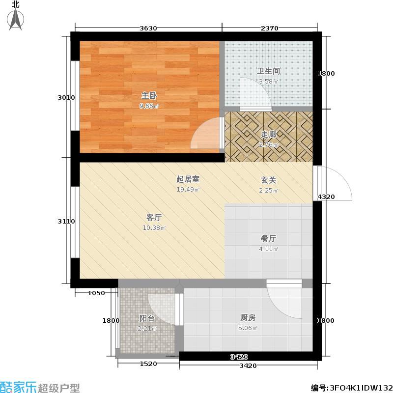滨才星城户型1室1厅