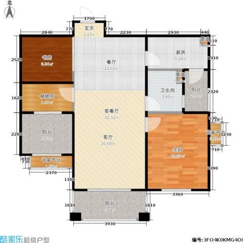佛奥中金棕榈湾2室1厅1卫1厨88.00㎡户型图