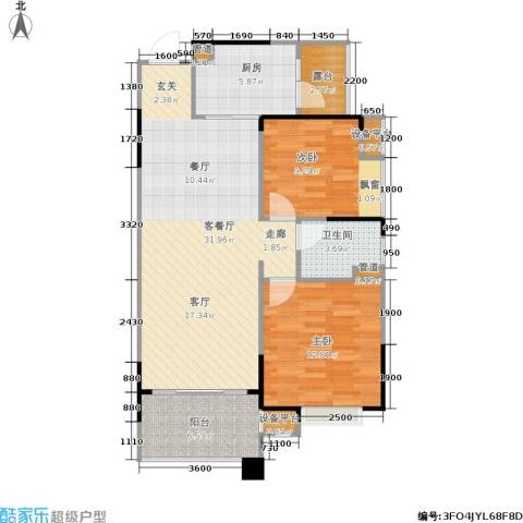碧桂园凰城2室1厅1卫1厨86.00㎡户型图