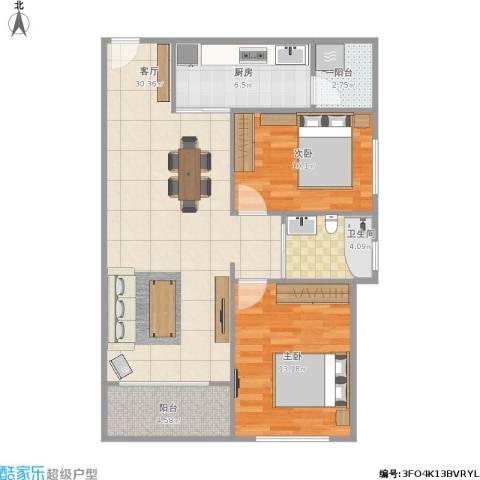 君华硅谷2室1厅1卫1厨97.00㎡户型图