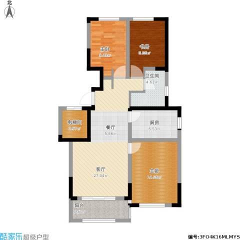 保利拉菲公馆3室1厅1卫1厨115.00㎡户型图