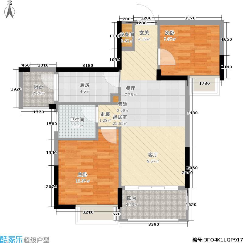 富盈四季华庭74.00㎡3-5栋标准层03户型2室2厅