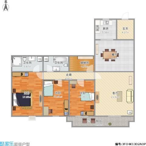 泛华大厦3室2厅2卫1厨189.00㎡户型图