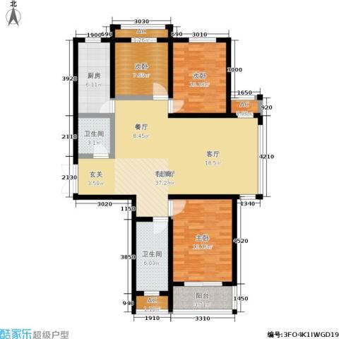 泰丰观湖3室1厅2卫1厨129.00㎡户型图