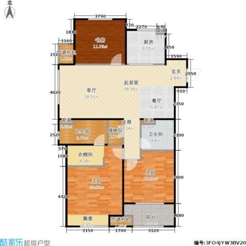 万科金色里程3室0厅2卫1厨122.00㎡户型图