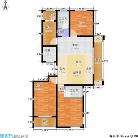 乌桥水岸花园3室0厅2卫1厨136.00㎡户型图