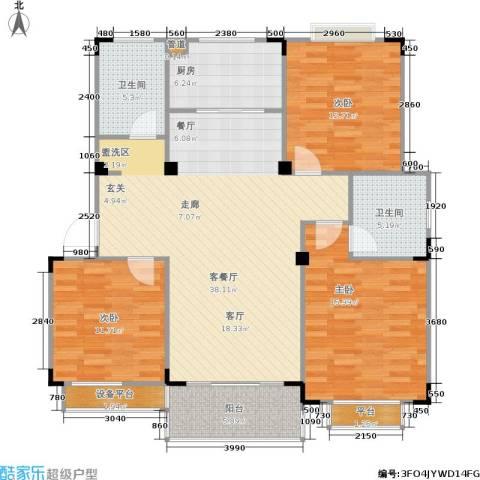 惠泽云锦城3室1厅2卫1厨113.00㎡户型图