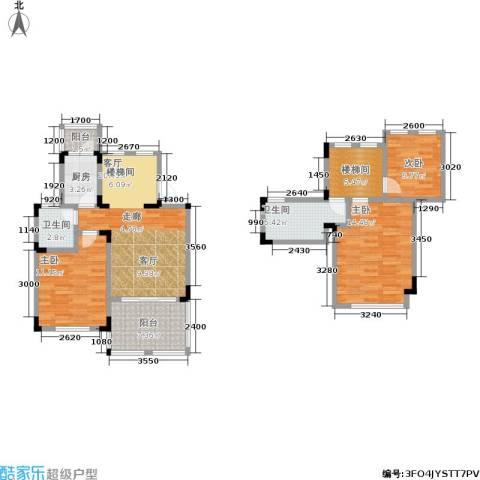 汇祥云深处3室1厅2卫1厨78.64㎡户型图