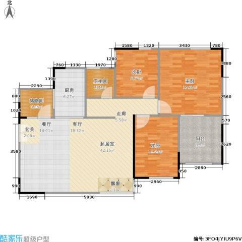 万科蓝山3室0厅1卫1厨109.00㎡户型图