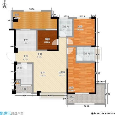 厦门禹洲高尔夫3室0厅2卫1厨150.00㎡户型图