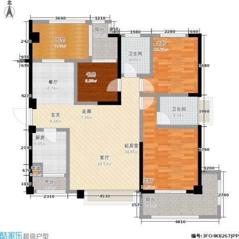 厦门禹洲高尔夫3室0厅2卫1厨142.00㎡户型图