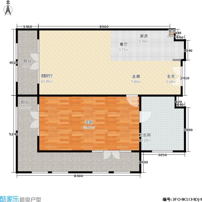 一杯澜125.50㎡一号楼公寓F8户型1室1厅