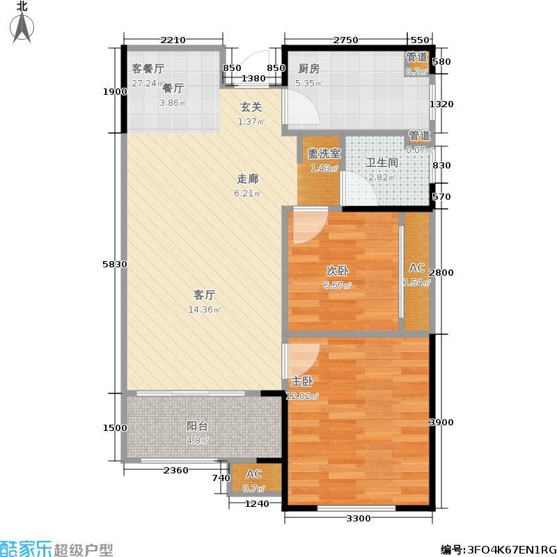 弘德好莱城77.00㎡D户型两室两厅一卫户型2室2厅1卫