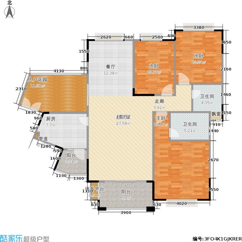 龙光普罗旺斯130.26㎡11#楼一单元05、二单元01/053室户型