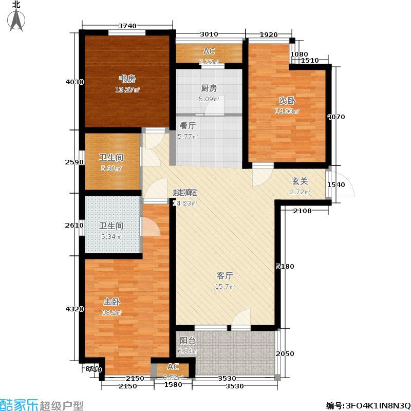 幸福城124.25㎡户型3室2厅