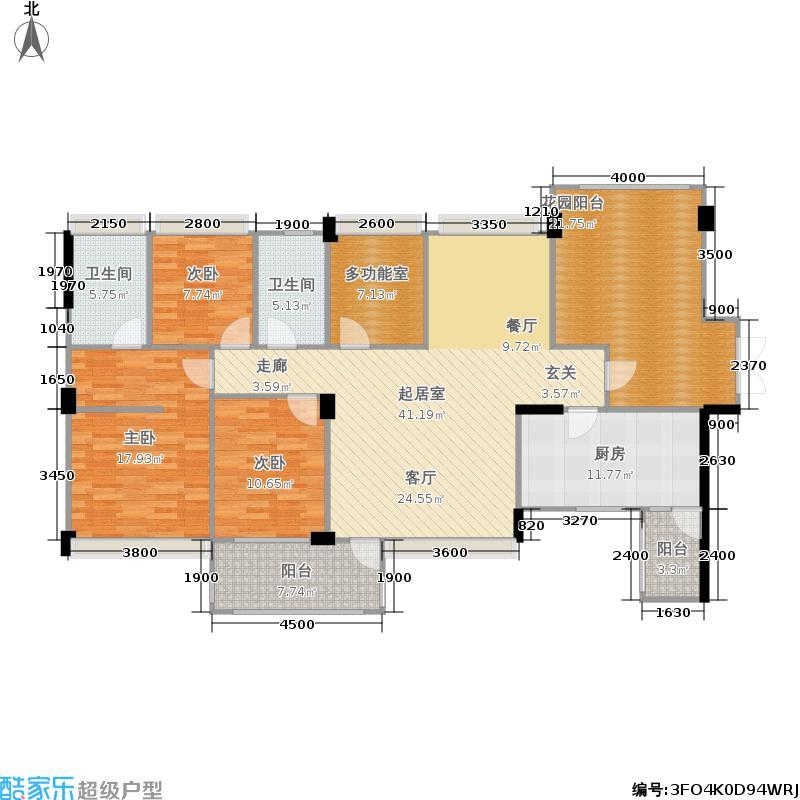成都雅居乐花园156.06㎡四期53栋标准层G1-2户型
