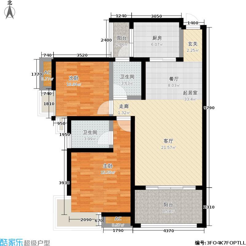 舒巢一品89.71㎡C2两室两厅两卫户型2室2厅2卫