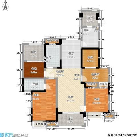 宝业光谷丽都3室1厅2卫1厨138.00㎡户型图