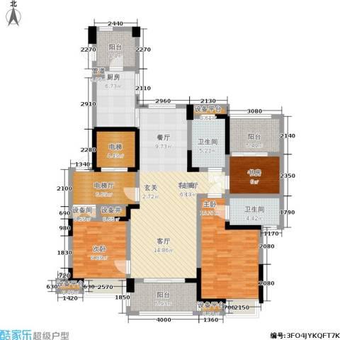 宝业光谷丽都3室1厅2卫1厨136.00㎡户型图