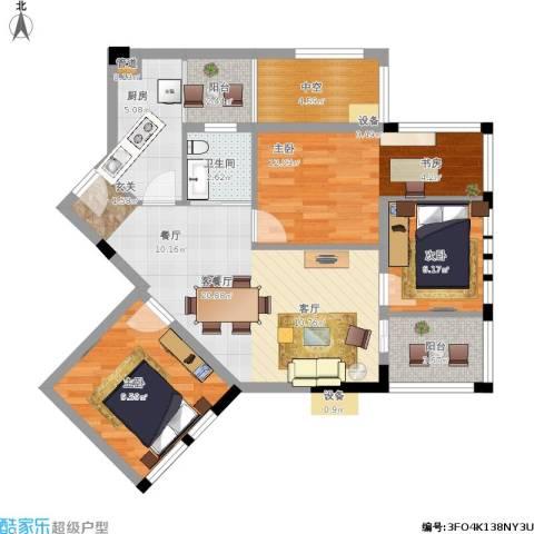 神仙树缤纷3室1厅1卫1厨97.00㎡户型图