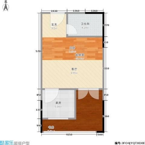 娄山关梦里水乡1室0厅1卫1厨38.11㎡户型图