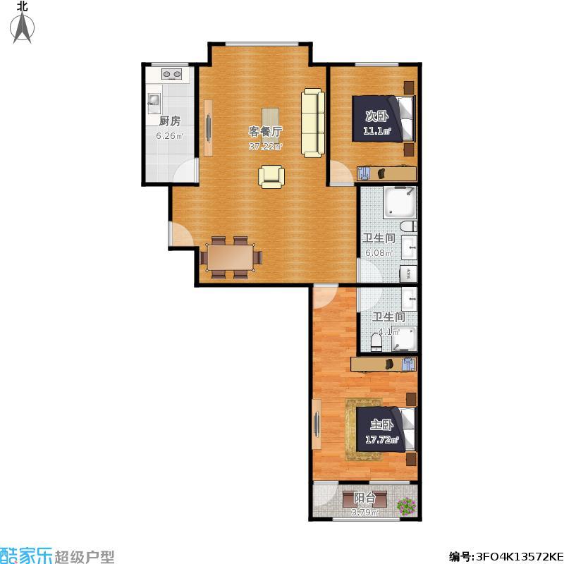 两室两厅104平米