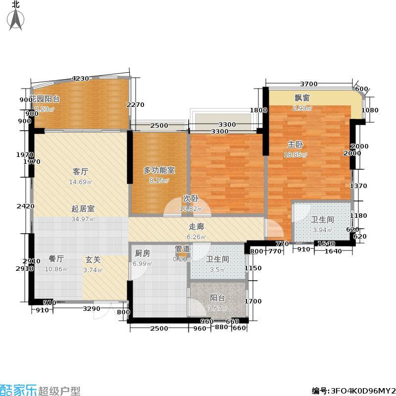 成都雅居乐花园123.02㎡四期54栋标准层E户型