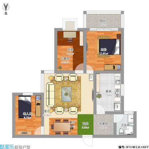 亚龙盛世嘉园3室1厅1卫1厨108.00㎡户型图
