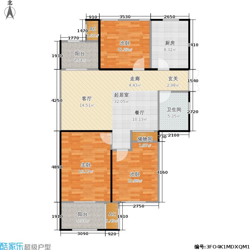 高成天鹅湖106.00㎡11#甲单元04室户型3室2厅