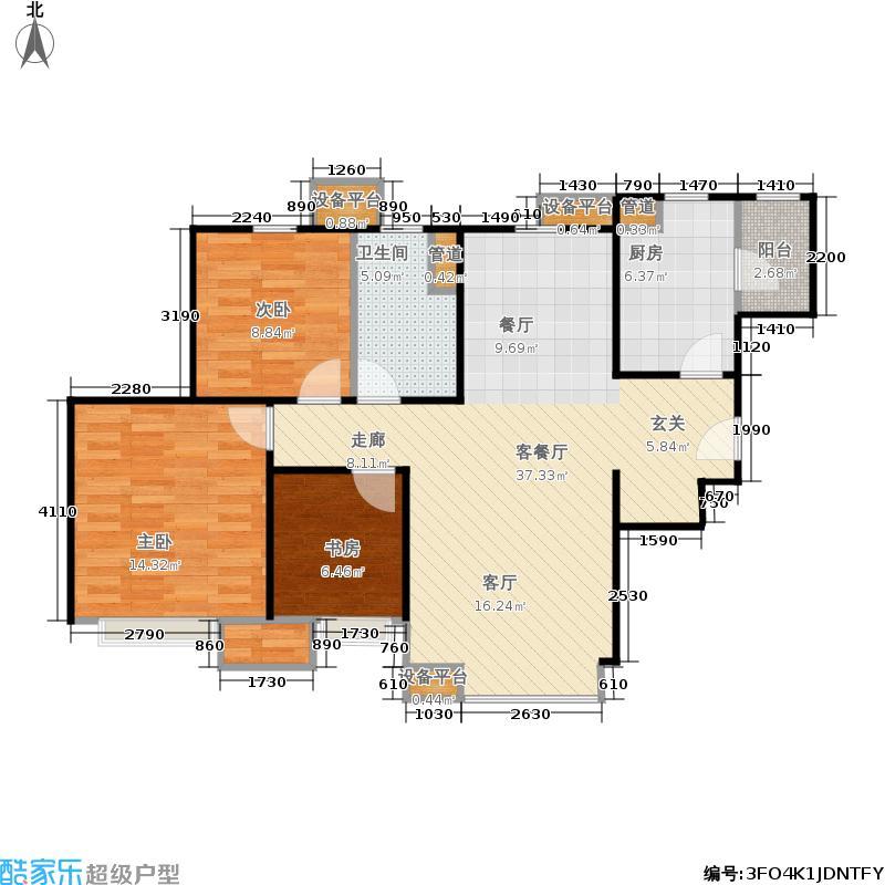 天津津南新城88.00㎡一期高层标准层04户型3室2厅