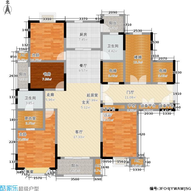 招商雍景湾168.00㎡三期大公馆91#、93#幢标准层B户型