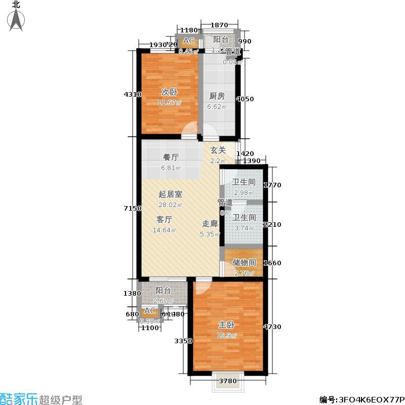 望都新地89.70㎡望都新地户型图G1二室一厅一卫(4/14张)户型10室