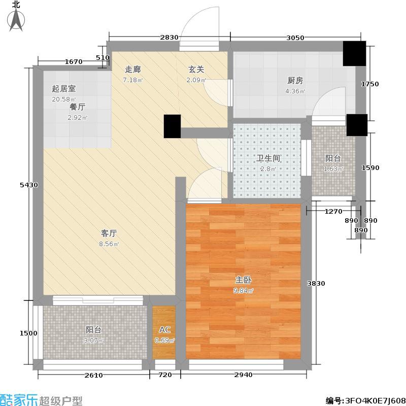 中铁水映青城55.00㎡一期9-11号楼洋房C户型