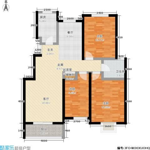 阅城国际花园3室0厅1卫1厨122.00㎡户型图